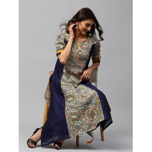 Libas Navy Blue & Off-White Printed A-Line Kurta