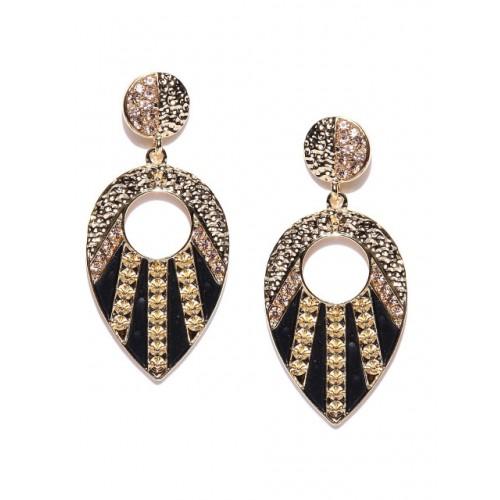 Golden Peacock Black Gold-Plated Teardrop Shaped Drop Earrings