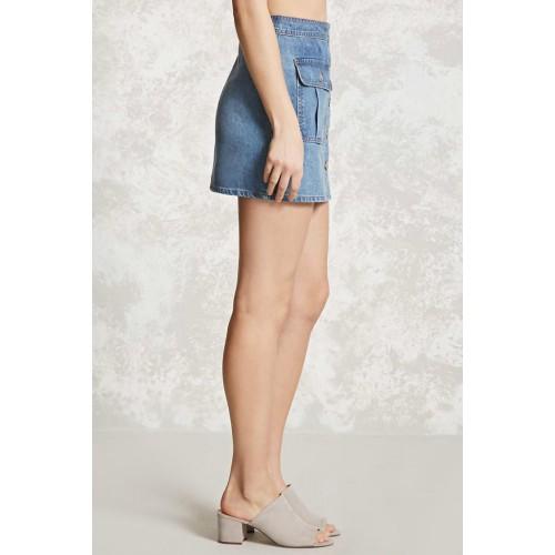 e0bc904f68 Buy forever21 Blue Cotton Denim Button-Up Mini Skirt online ...
