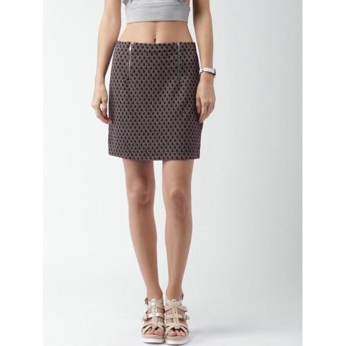 Buy New Look Black Burgundy Patterned Pencil Skirt Online