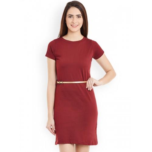 Miss Chase Women's Shift Maroon Dress