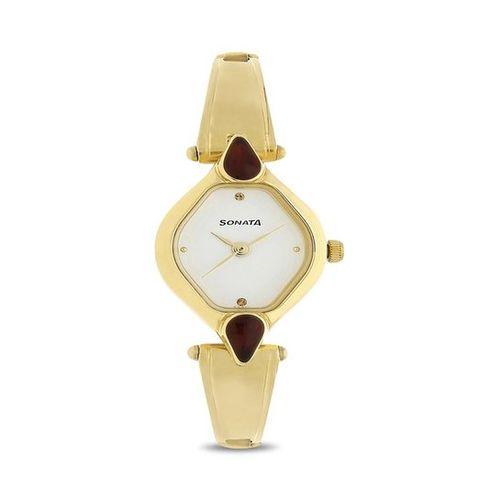 Sonata Golden Analog Watch for Women NK8063YM05