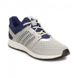 Adidas Navy Blue & Silver Mesh Lace-up Sport Shoes