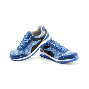 Elligator Mens Blue  Black Lace-Up Running Shoes