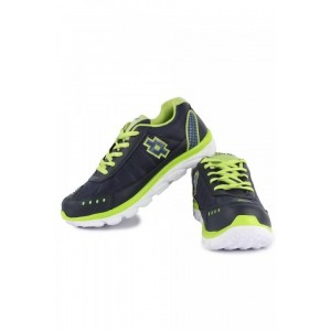 Mens Blue  Green Lace-up Sports Shoes