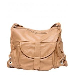 Borse Beige Faux Leather Sling Bag