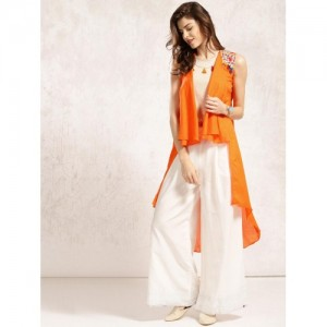 Anouk Orange Solid Longline Shrug