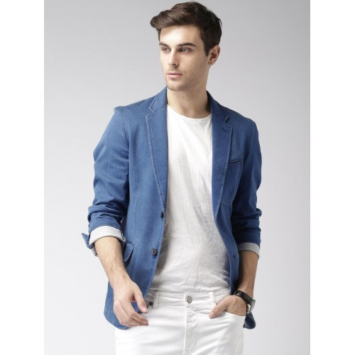 Mast & Harbour Blue Single-Breasted Denim Blazer