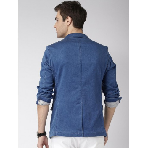 Mast & Harbour Blue Single-Breasted Denim Blazer