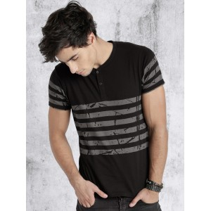Roadster Men Black & Grey Striped Henley Neck T-shirt