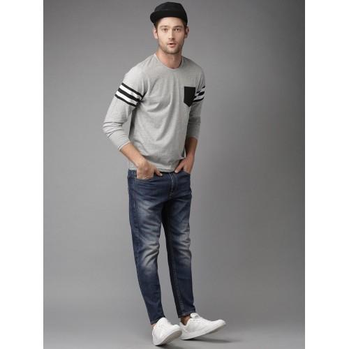 Moda Rapido Men Grey Melange Solid T-shirt