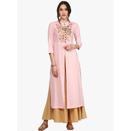 Sassafras Pink Embroidered Kurta with Front Slit