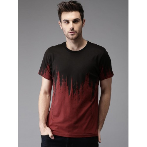 97c4bcf38b Buy Moda Rapido Men Maroon & Black Printed T-shirt online | Looksgud.in