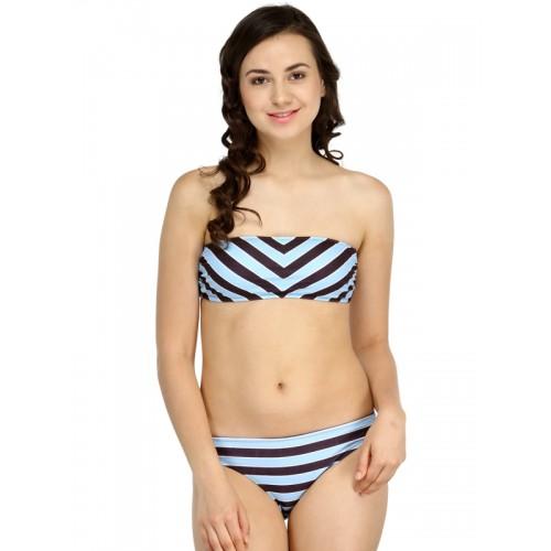 N-GAL Blue & Black Striped Bikini Set NG41256