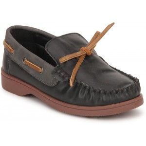 Arden by Knotty Derby Black Synthetic Leather Boat Shoes