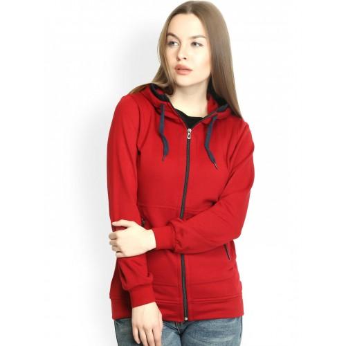 Belle Fille Maroon Polyester Fleece Hooded Sweatshirt