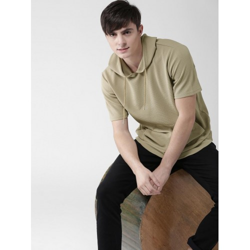 Buy Forever 21 Men Beige Self Design Hooded T Shirt Online Looksgud In