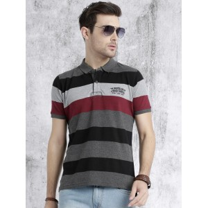 Roadster Men Grey & Maroon Striped Polo Collar T-Shirt