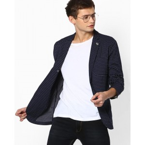 Jack & Jones Slim Fit Printed Single-Breasted Blazer