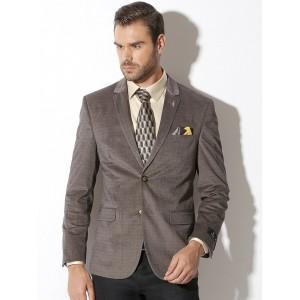 Van Heusen Grey Patterned Slim Fit Blazer
