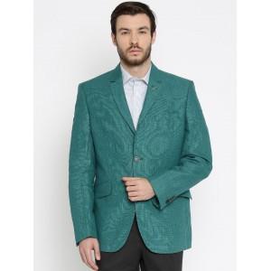 Van Heusen Teal Green Single-Breasted Slim Fit Blazer