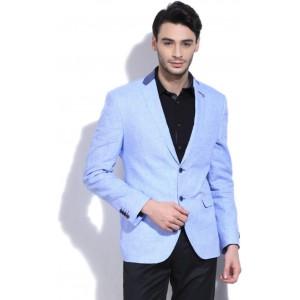 Van Heusen Blue Solid Linen Blazer