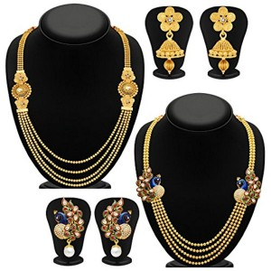 Sukkhi Sukkhi Pretty 4 String Gold Plated Set of 2 Necklace Set Combo For Women