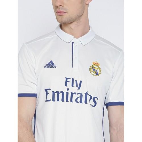 more photos 49e81 3c141 Buy Adidas Men White H LS Real Madrid F.C. Printed Polo ...