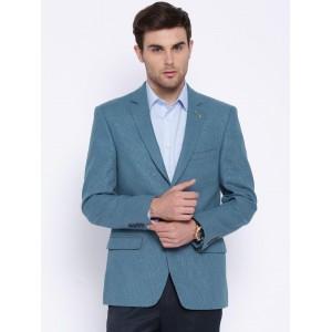 Arrow Blue Linen Single-Breasted Blazer