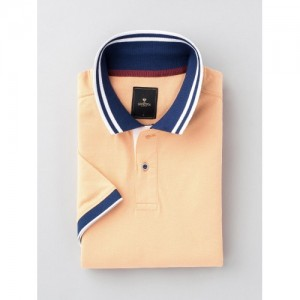 INVICTUS Peach Navy Blue Cotton Polo T-shirt