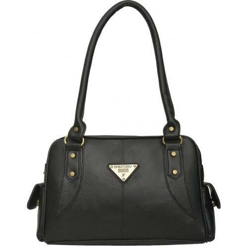 Fantosy Black Polyurethane Embellished Solid Handbag