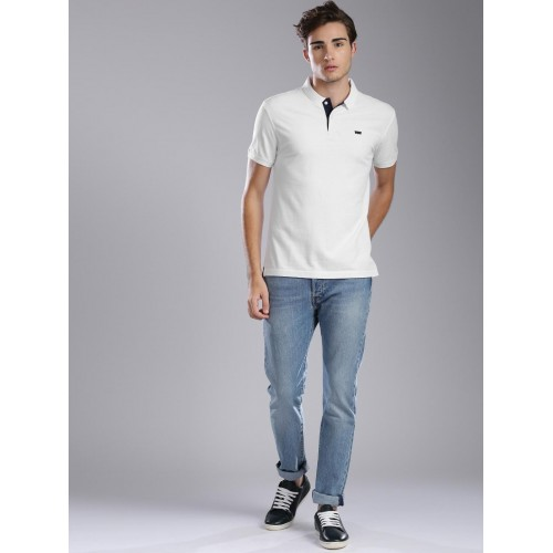 589c1164 Buy Levis Men White Solid Polo T-shirt online | Looksgud.in