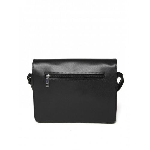 DressBerry Black & Peach-Coloured Colourblocked Sling Bag