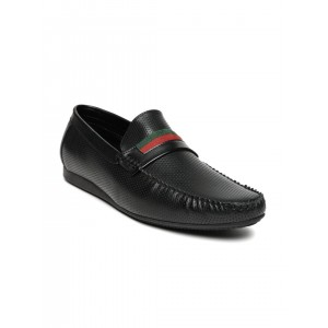 San Frissco Men Black Perforated Loafers