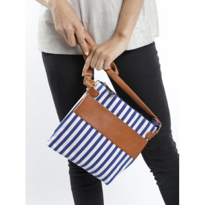 Mast & Harbour Off-White & Navy Striped Sling Bag