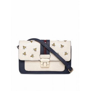 Accessorize Beige & Navy Embroidered Colourblocked Sling Bag