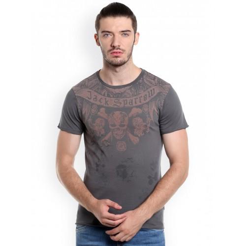 Jack & Jones Men Grey Printed Pirates Of The Carribean T-shirt