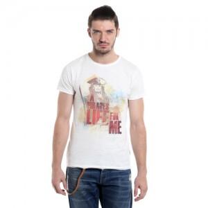 Jack & Jones White Printed Round Neck T-Shirt