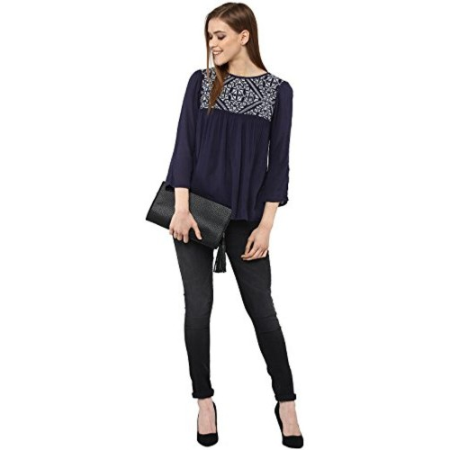 81b02c15278 ... THE VANCA The Vanca Navy Rayon top in with embroidery at yoke part ...