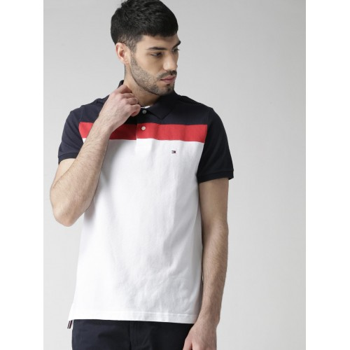 fe255b0ca ... Tommy Hilfiger Men White Colourblocked Slim Fit Polo Collar T-shirt ...
