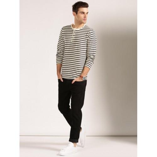 04aa9e87 Buy Harvard Men Cream-Coloured & Black Striped Henley T-shirt online ...