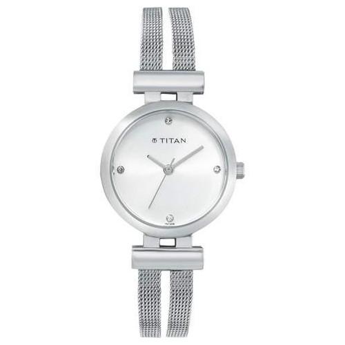 buy titan silver dial analog watch for womennf9942sm01j