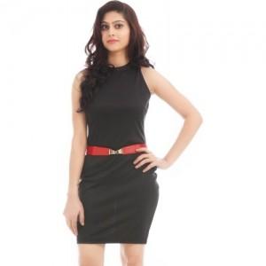 Texco Women's Solid Black Sheath Dress