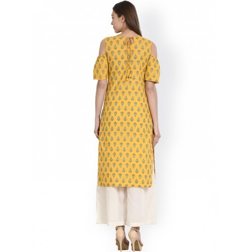 Nayo Yellow Printed Cold Shoulder Straight Kurta