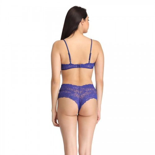 8de742e4bb Clovia Blue Non-Wired Lace Bra With Transparent Cups And Lace Hipster ...