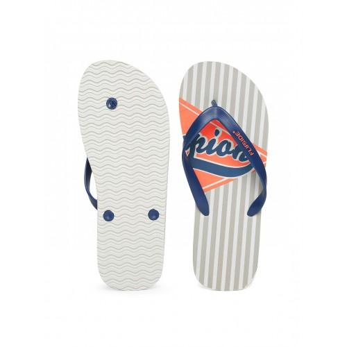 Flipside Navy & Grey Synthetic Striped Flip-Flops
