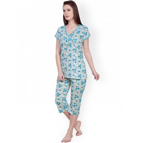 c8fda274e6 Buy Claura White   Blue Printed Night Suit cot-06 online