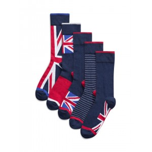 Next Navy Blue Cotton Printed Socks Pack of 5