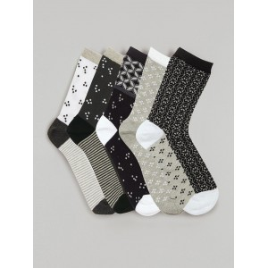 Next Black And White Cotton Printed Ankle Length Socks Pack Of 5