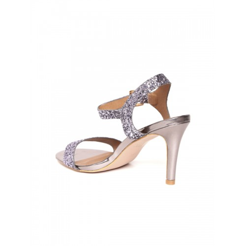 Carlton London Women Gunmetal-Toned Shimmer Slim Heels
